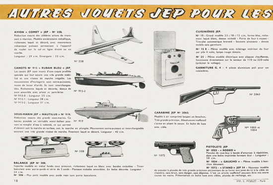 Trains JEP catalogue 1956